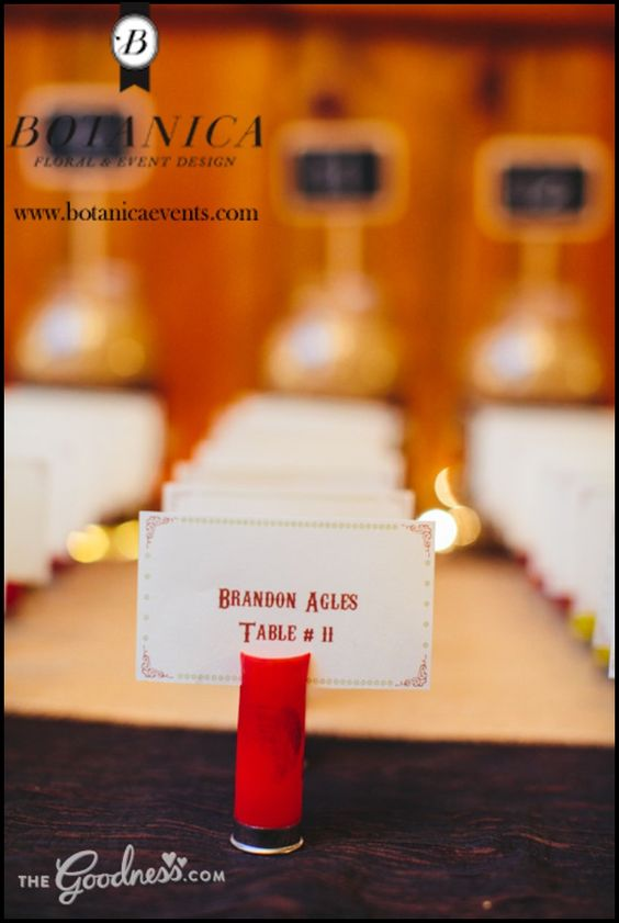 shotgun shell...How else could you use shotgun shells in the wedding?  Maybe for labeling food or part of the centerpieces?