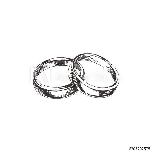 Hand Drawn Wedding Rings Illustration In 2020 Wedding Ring Illustrations Wedding Rings Sets Gold Wedding Rings