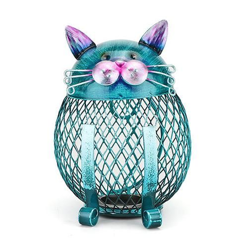Blue Cat Owl Shaped Piggy Bank Metal Coin Bank Money Box Figurines