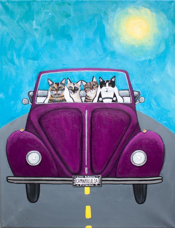 Road Trip Commissioned Cat Folk Art Painting