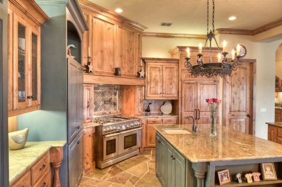 knotty alder kitchen  Love the sage colored island!!  Want to do two tones in my kitchen remodel!!!