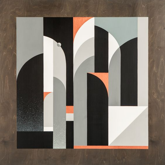 """Night Shift"" - Acrylic & aerosol on wood, 48"" x 48"", 2015 - Rubin 415"