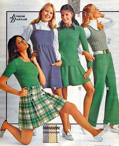 Young woman strikes a semi-kneeling pose in the 1972 Sears Wish Book while her companions stand around awkwardly. Nice.