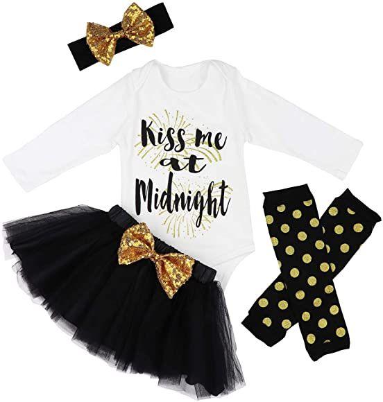 Baby Girl Tutu Romper Dress Leg Warmers 4pcs Outfits Set Christmas Deer 0-3 Months Headband Shoes