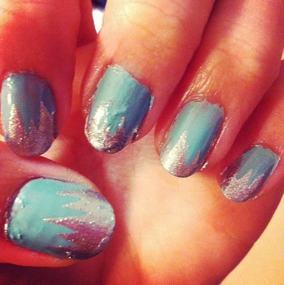 Blue and silver nail design