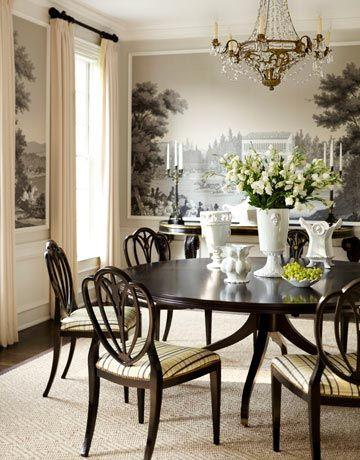 Zuber wallpaper in a formal dining room...