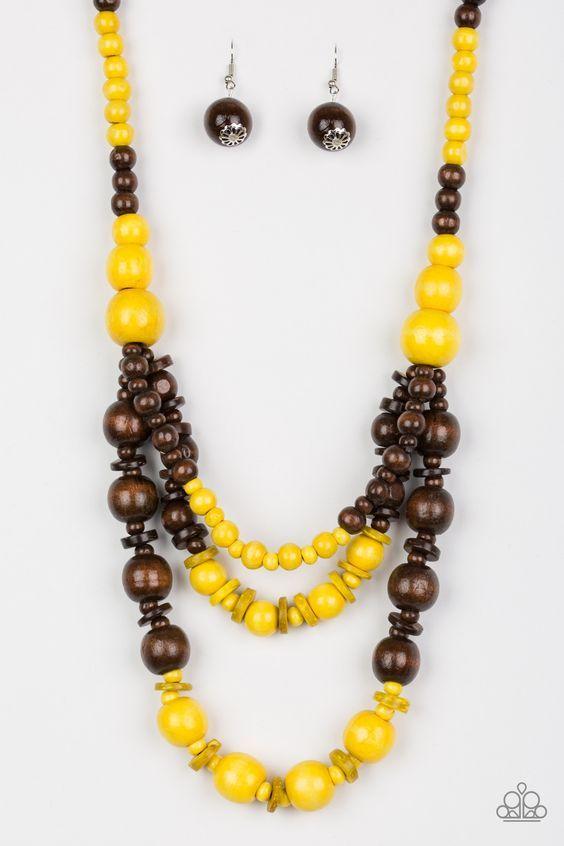 Painted Yellow Teardrop /& Round Fuchsia Pink Wood Bead NecklaceEarrings Set