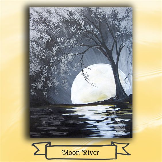 "Make Friday night a fun night out with some ""Moon River"" time! Join us Fri, March 24 for this fun and easy painting. Create some art and create some memories! Join us at Painting with a Twist – Avon! ©Painting with a Twist."