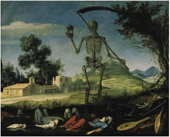 Filippo Napoletano, A landscape with the Grim Reaper.  (Rome c.1600-1640)  A landscape with the Grim Reaper  oil on copper  12 7/8 x 16 in. (32.7 x 40.6 cm.)