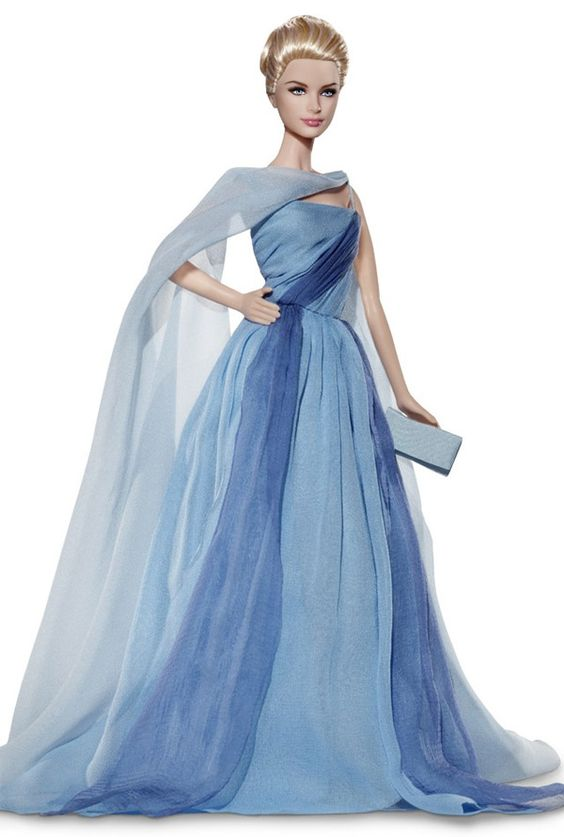 Grace Kelly Barbie– The Romance™ series — blue chiffon dress with ...