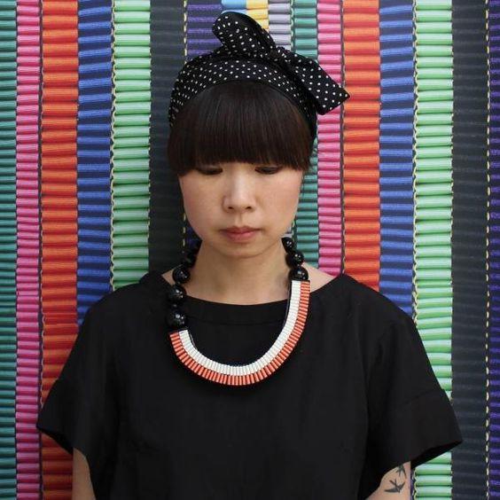 The Celeste woven ribbon necklace in coral/cream | Jennifer Loiselle