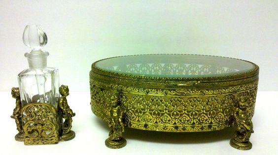 SET FILIGREE GOLD GILT CHERUB BEVELED DRESSER BOX CASKET & PERFUM SCENT BOTTLE