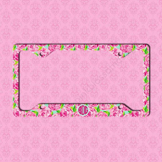 Custom License Plate Frame Monogram Lilly by pinkblossomdesign - Hottie Pink First