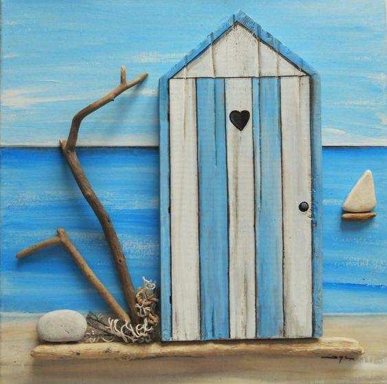 Tableau en bois flott la cabine de plage d coration for Tableau bois flotte