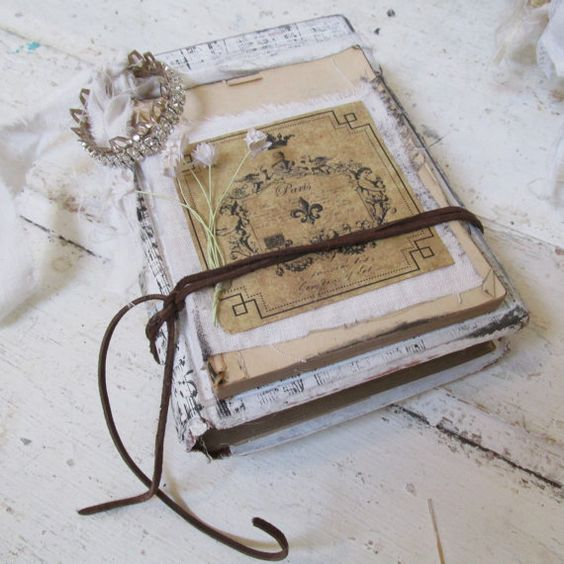 French shabby book stack with handmade by AnitaSperoDesign on Etsy