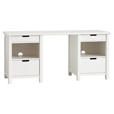 Sutton Cubby Storage Desk, Simply White