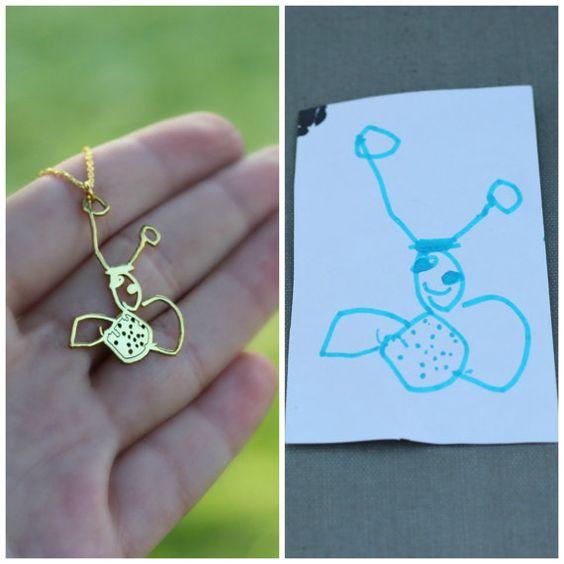 Tatsächliche Kind Zeichnung Halskette, Kinder Kunst Halskette, Halskette Orginial, entwerfen Sie Ihre eigene Kette, Memorial Halskette, Andenken Schmuck, Mutter