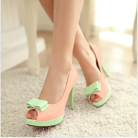 New Arrival Sweet Girl Contrast Colour Bowtie High Heel Shoes