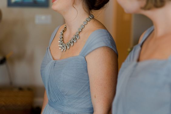 The bride chose to accent her Maid of Honor with a statement necklace. #bestdayever61816