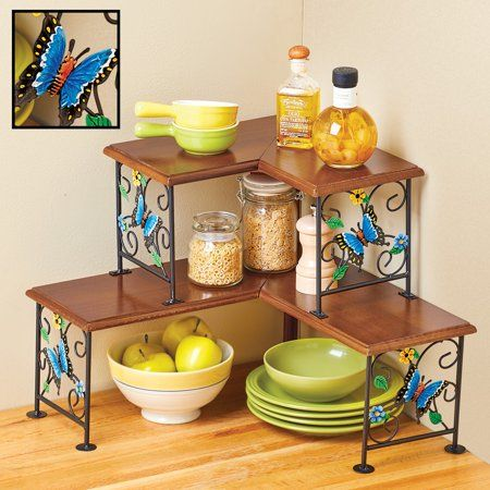 Kitchen Counter Corner Shelf With Butterfly Design And Scrolling Accents Two Tiers For More Storage And Corner Shelves Kitchen Counter Corner Shelves Kitchen