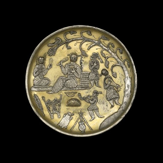 Silver-gilt dish From Tabaristan, Iran, south of the Caspian Sea, 8th century AD A banquet scene in the Sasanian style