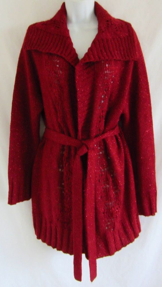CHICO'S Red Metallic Shimmer Long Sweater Cardigan 3 XL Belted $34.99