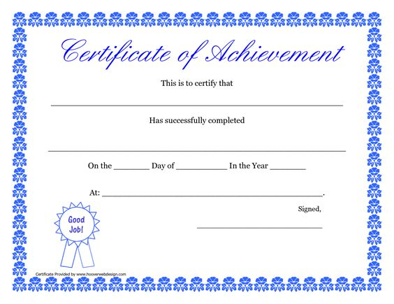 printable hard work certificates kids – Certificate of Achievement for Kids