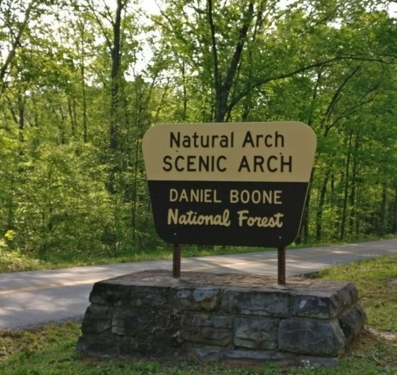 The Natural Arch Loop Trail is located in the Daniel Boone National Forest.