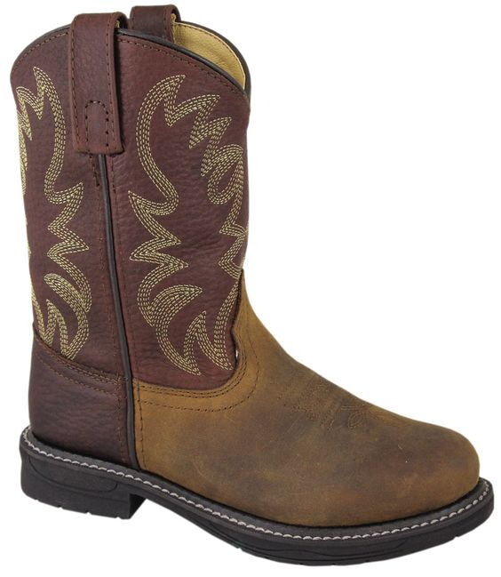 Smoky Mountain Boots Youth Boys Buffalo Brown Oiled Leather Cowboy