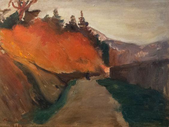 """Lucien Mainssieux (1885 - 1958) """"La Route en automne"""" dét. (1910, huile sur toile) musée Mainssieux à Voiron (Isère, France)   par Denis Trente-Huittessan"""