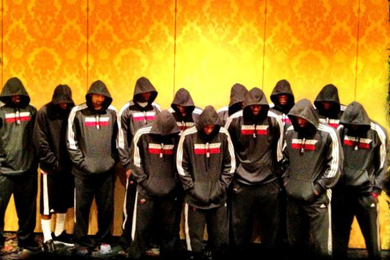 Not a Heat fan, but have to give them props for representing. LeBron James posted this team photo on his Twitter page with the hashtag #WeAreTrayvonMartin.