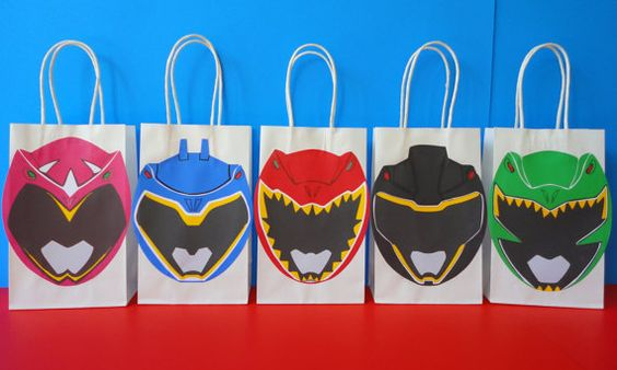 Printable Power Rangers Favor/ Goodie Bag. Visit my Etsy Shop to purchase these bag design templates for just $6.20. They are very easy to assemble. Printing is unlimited!! Power Rangers Birthday Party favors/ decoration/ ideas/ favor/ treat/ candy/ goody/ loot bags/ stickers/ labels/ power rangers cake/ cupcake toppers/ power rangers dino charge invite/ invitation/ backdrop/ photo props/ masks/ party supplies/ fiesta/ festa/ power rangers costume/ centerpieces