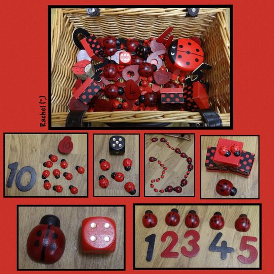 "Counting ladybirds from Rachel ("",) - I love the ladybird sensory basket ... so many possibilities for mathematical exploration.:"
