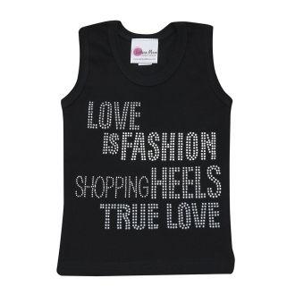 Girl's Black Glitzy Love Is Fashion Tank Top - Girl's Hip. Stylish and Trendy Rhinestone Tank Top