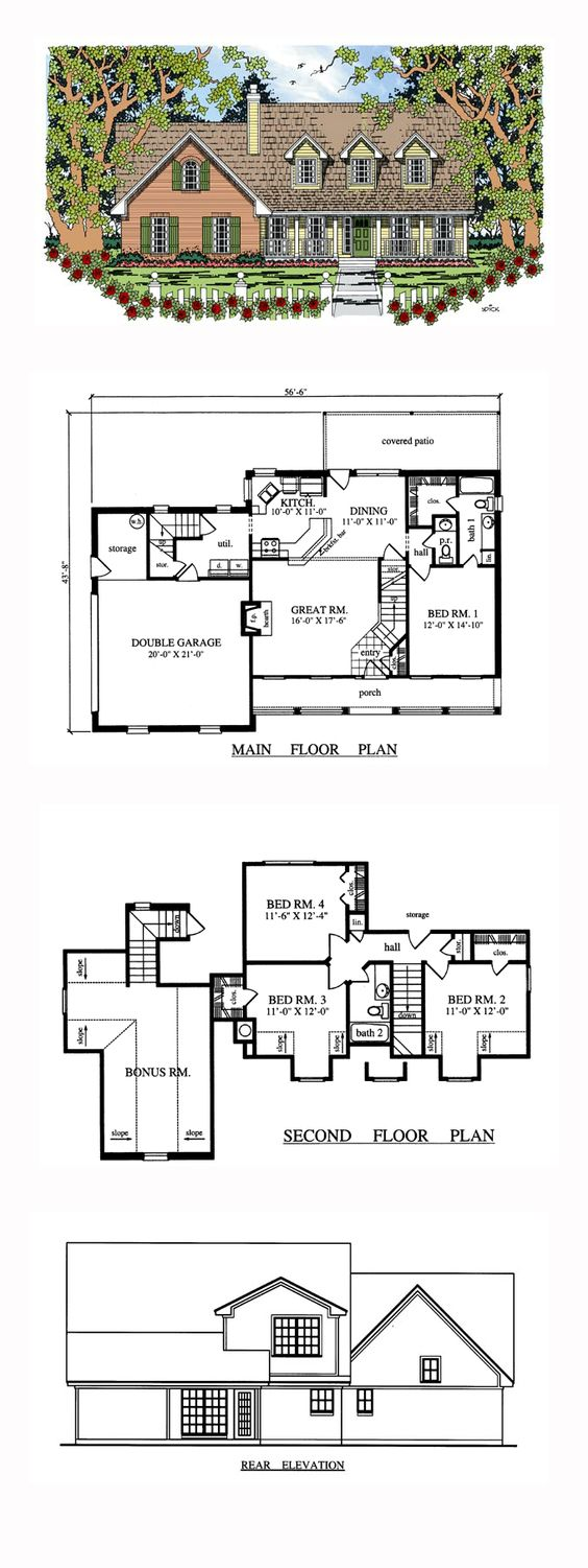 Cape cod country house plan 79269 house plans cape cod for Small cape cod house plans under 1000 sq ft