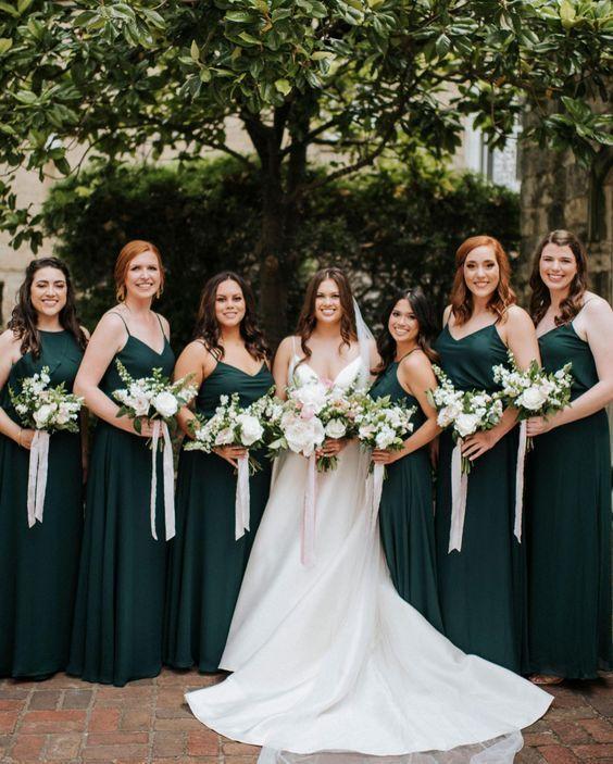Dark Green Mismatched Bridesmaid Dresses In 2020 Emerald Green Bridesmaid Dresses Dark Green Bridesmaid Dress Green Bridesmaid Dresses