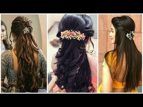 Latest Beautiful Wedding Party Hairstyles For Saree Latest Hairstyles Hairstyles For Wedding Saree Youtube In 2020 Hair Styles Long Hair Styles Indian Hairstyles