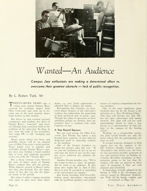 """The Ohio Alumnus, April 1959. """"Wanted--An Audience."""" """"Campus Jazz enthusiasts are making a determined effort to overcome their greatest obstacle--lack of public recognition."""" :: Ohio University Archives"""