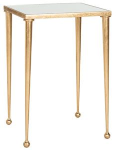we love how the slender tapered legs and delicate ball feet on this gold leaf iron side table add drama to its design immediately drawing you in inlaid added drama mirrored bedroom furniture