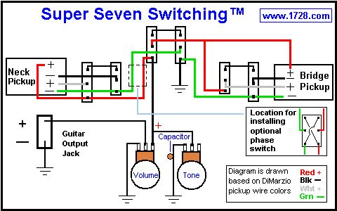 f168cd0ef62ff52eeda7bfe425ee92b2 guitar pickups hacks super seven switching 72 pickup combinations guitar tech custom guitar wiring diagrams at panicattacktreatment.co