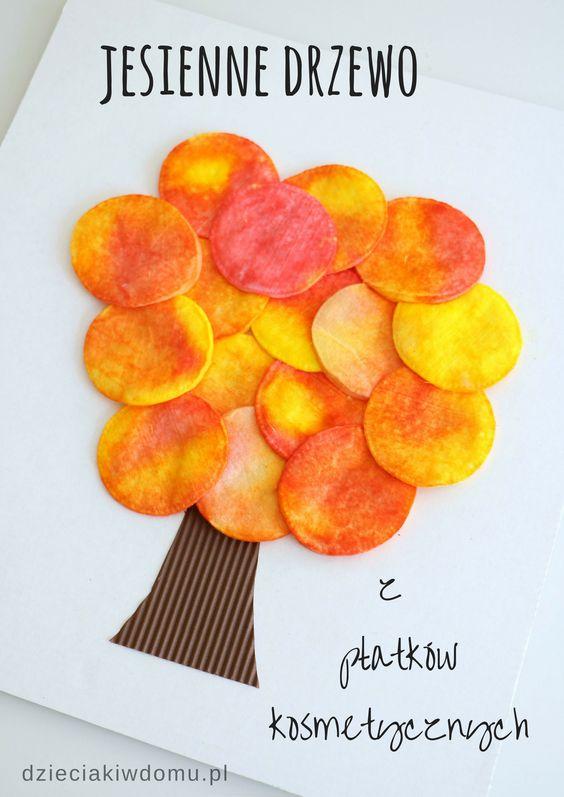 Jesienne drzewko z płątków kosmetycznych - praca plastyczna dla dzieci