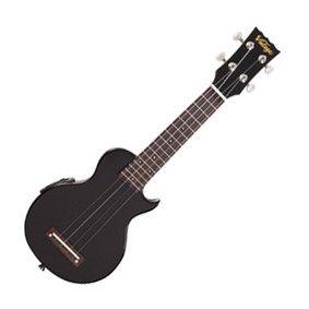 Vintage Soprano Ukulele ELECTRIQUE, noir brillant