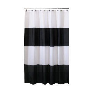 """Interdesign """"Zeno""""  Shower Curtain Black/White; by interDesign {love how simple and bold this one is} only $21 too."""
