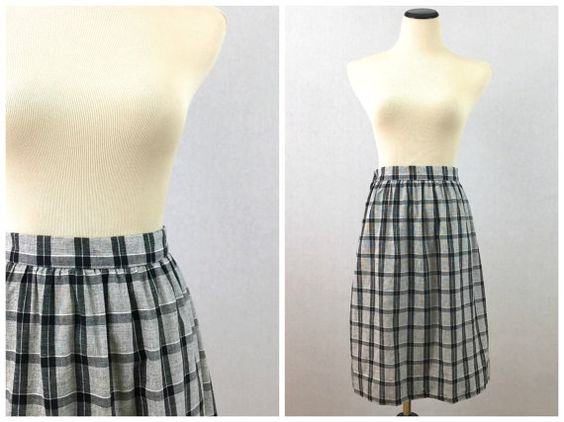 Black and White Plaid Skirt  Size Small by TheBirdcageVintage