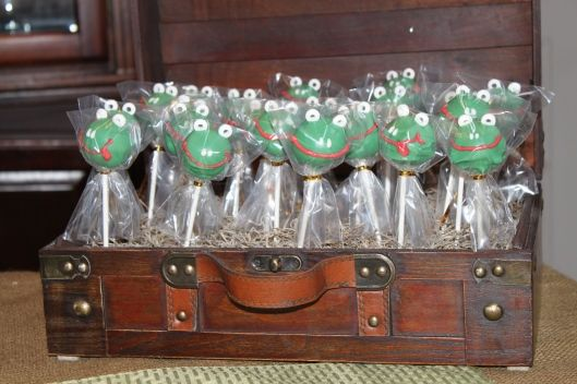 frog cake pops made great favors for a baby shower