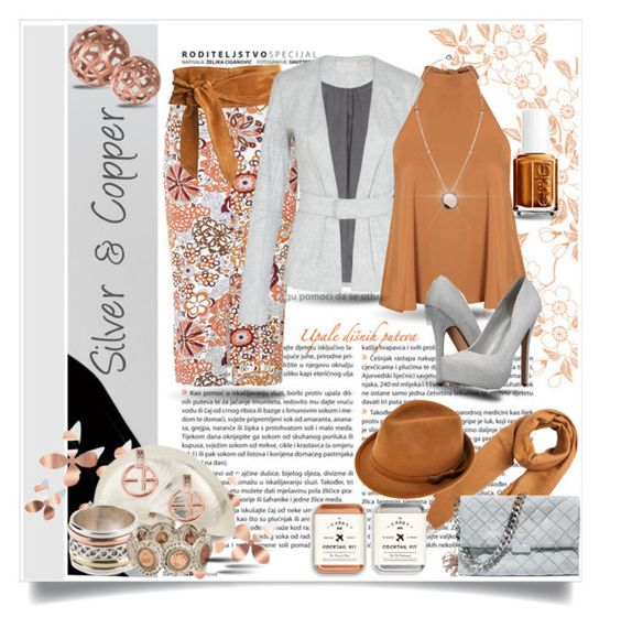 """""""Silver & Copper"""" by stacinelsoncole ❤ liked on Polyvore featuring Glamorous, Umbra, sass & bide, Pieces, Call it SPRING, Roberto Coin, STELLA McCARTNEY, Emporio Armani and Essie"""