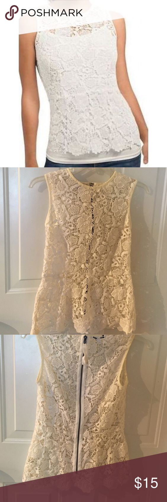 Top Cabi Needle Lace Ivory Peplum Shell Blouse Top. CAbi Tops