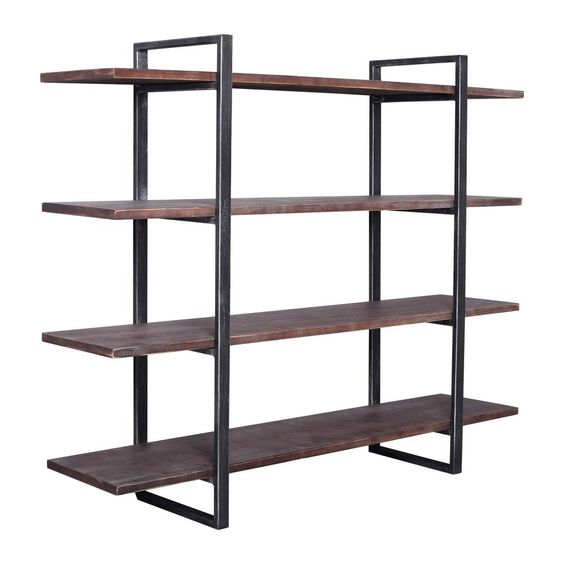 Today S Mentality 39 37 In Rustic Pine Black Metal 4 Shelf Standard Bookcase With Open Back Tmbeslwthd In 2020 Industrial Bookshelf Wood Shelves Wood Bookshelves