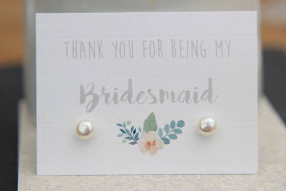 Thank You For Being My Bridesmaid Pearl Earrings