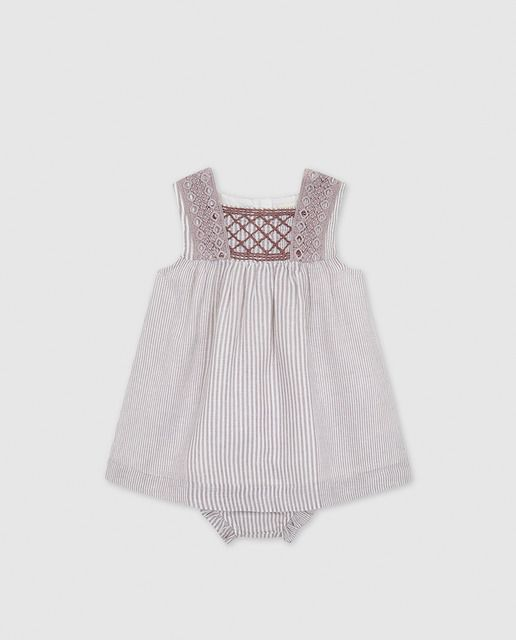 Vestido De Bebé Niña Gocco De Rayas Con Bordados Vestidos Bebe Niña Vestidos Para Bebés Paño